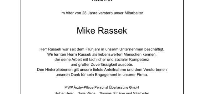 Ein Nachruf für unsere Fachkraft Mike Rassek